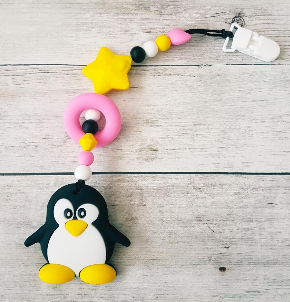 Egyágú színes szilikon rágóka (pingvinrozsaszinsargafeher)