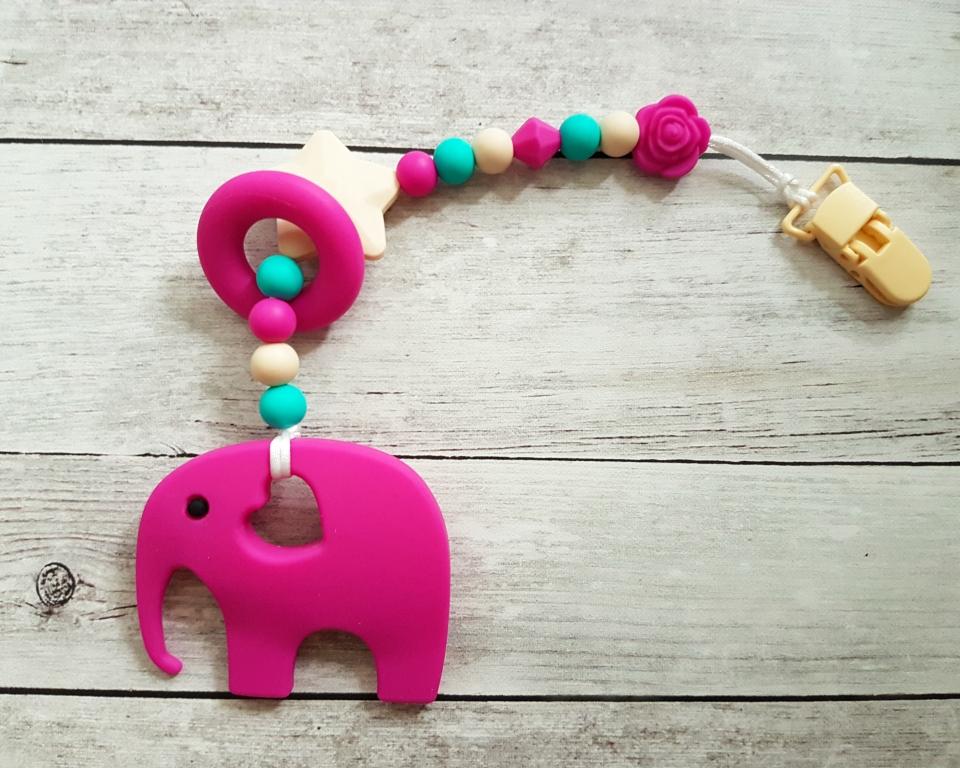 Egyágú színes szilikon rágóka (pink-bezs-turkiz_zold)